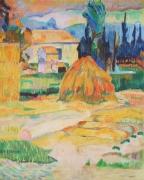 tableau paysages paysage provence foin gauguin : le mas d'Arles d'après Gauguin
