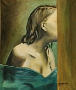tableau personnages femme profil bleu visage : Derrière la Porte. Alla prima.