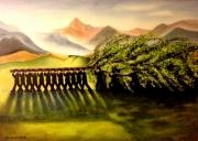 tableau personnages arbre hommes nature vert : L'Arbre de mai à Cucuron