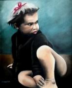 tableau personnages enfant fille colere langue : Jeannette en colère