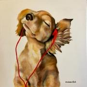 tableau animaux chien ecouteurs musique : Oscar le mélomane