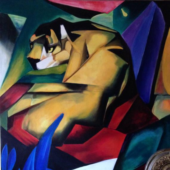 TABLEAU PEINTURE tigre Marc cubisme animal Animaux Peinture a l'huile  - Le Tigre