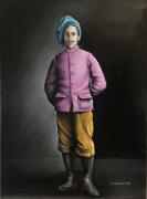 tableau personnages homme beret rose ocre : Jeune homme à la tarte. Pierre Louis