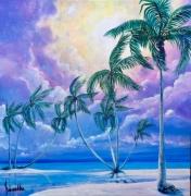 tableau paysages cocotiers pacifique Îles polynesie : Rêve