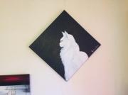 tableau animaux chat poil long blanc : Zen