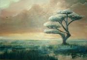 tableau paysages arbre ciel lumiere : L'heure suave