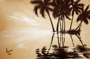 tableau palmiers cocotiers bord de mer aube : zen
