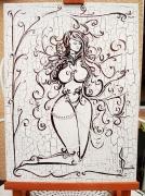 tableau nus femme nue perles relief : Perline