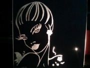 """ceramique verre personnages gravure verre femme papillon : miroir """"femme papillon"""""""