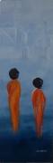 tableau personnages femmes saris orient mystere : Sous d'autres cieux