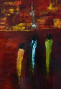 tableau personnages femmes lumieres reve nuit : Lumières de la ville