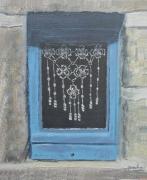 tableau marine rideaux maison bretonne ile fenetre : fenêtre de l'île