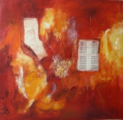 tableau abstrait relief tons chauds musique texte : Balade
