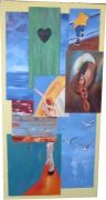 tableau marine mer detail mouettes bateau : cartes postales 5