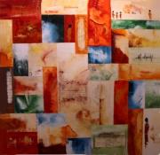tableau abstrait couleurs chaudes mosaique relief souvenirs : A livre ouvert