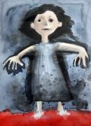 tableau personnages personnage fillette : les pieds dans le rouge, en robe bleue