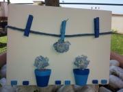 tableau autres bleu fleurs potterrecuite naissance : Bleu