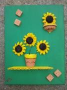 tableau fleurs tableau tournesol etagere vert : les tournesols