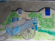 tableau architecture charrue chaumiere campagne village : La charrue de la chaumiere