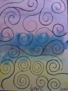 dessin abstrait lignes ondes couleurs abstraites : Ondulations