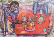 tableau personnages acrylique bois personnages multicolore : Le dîner triste