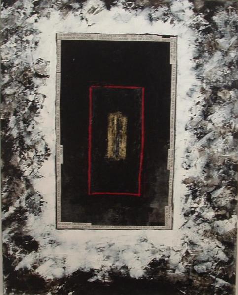 TABLEAU PEINTURE noir blanc abstrait Abstrait Acrylique  - lumiere