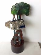 sculpture paysages ile arbre mineral metal : L'île des batisseurs