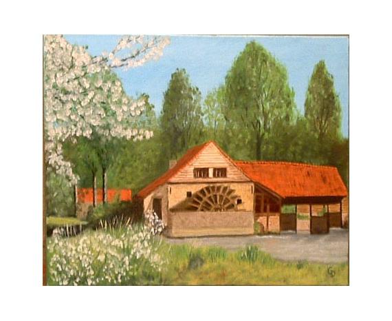 TABLEAU PEINTURE Moulin eau Maintenay Paysages Peinture a l'huile  - Moulin de Maintenay