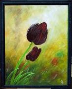 tableau fleurs tulipes pluie : 54 - Tulipe noire