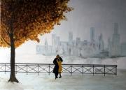 tableau scene de genre peinture couple toile urbain : 295 - Toi et moi seul parmi des milles
