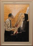 tableau scene de genre piano peinture partition musicale bar : 310 - piano bar