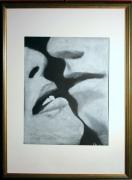 tableau scene de genre baiser pastel encadre : 313 - Baiser avec cadre sous verre