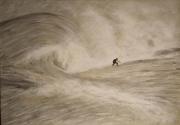 tableau marine vague surfeur peinture toile : 309 - sur le fil de la vague