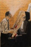 tableau peinture partition acrylique piano : 310 - piano bar