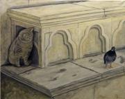 tableau animaux pigeon chat peinture acrylique : 289 - Le jeune chat et le vieux pigeon, mefiance reciproque