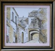 tableau paysages aquarelle vue village ancien : 263 - Rue de village