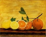 tableau nature morte peinture agrumes citron orange : 281 - Agrumes oranges et citrons
