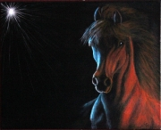 tableau animaux cheval clair obscur peinture toile : 303 - Cheval de feu