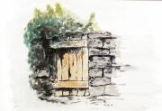 tableau scene de genre abri abandonne aquarelle papier : 285 - L'abri abandonne