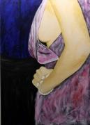 tableau scene de genre peinture acrylique femme nu : 291 - Oh la robe