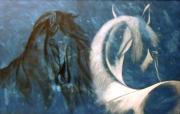 tableau animaux chevaux stylises toile peinture : 246 - Noir et blanc