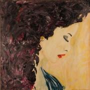 tableau scene de genre peinture visage feminin levres rouges acrylique : 267 les levres rouges