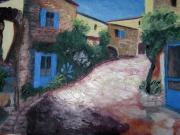 tableau paysages sud village soleil bleu : Village du sud