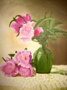tableau fleurs pivoine fleur bouquet vert : Pivoines au vase vert/ Vendu