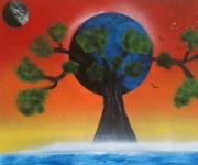 tableau paysages peinture tableau toile decoration : L'arbre de Bléné