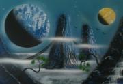 tableau paysages tableau peinture toile decoration : Les piliers de Panxar