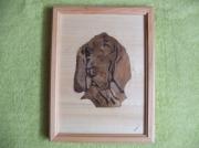 bois marqueterie animaux alsace strasbourg chien basset : basset