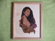 bois marqueterie nus alsace strasbourg femme et le rose : femme et la rose