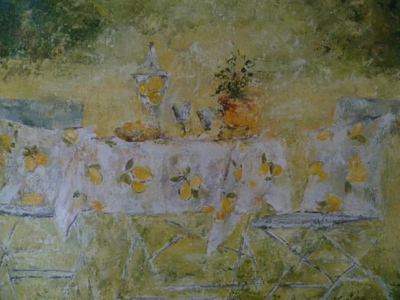 TABLEAU PEINTURE printemps table citron jaune Peinture a l'huile  - Nos 87 le pique nique