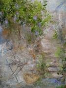 tableau nature morte marche escalier fleurs village : Nos la montée d'escalier
